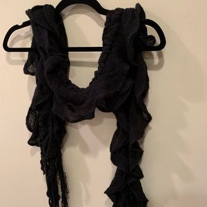 Knit Black Ruffle Scarf with Fringe